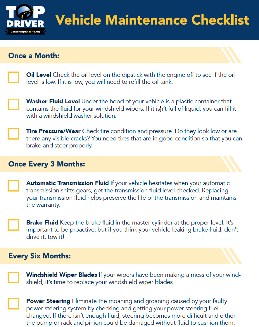 Top Driver Vehicle Maintenance Checklist. Once a month, Once every 3 months and every 6 months checklist.