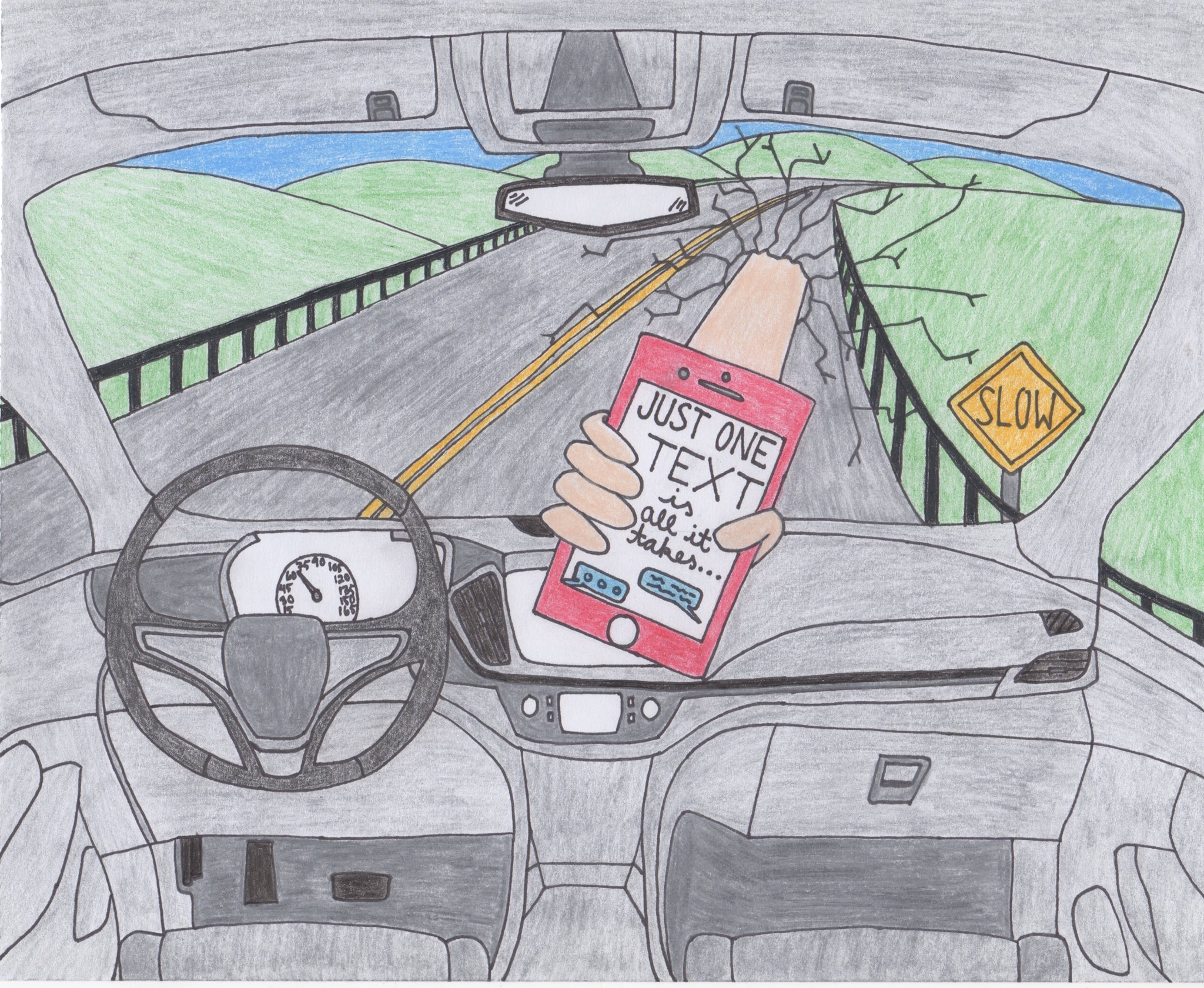 """Hand crashing through windshield of car holding cell phone. """"Just one text is all it takes."""""""