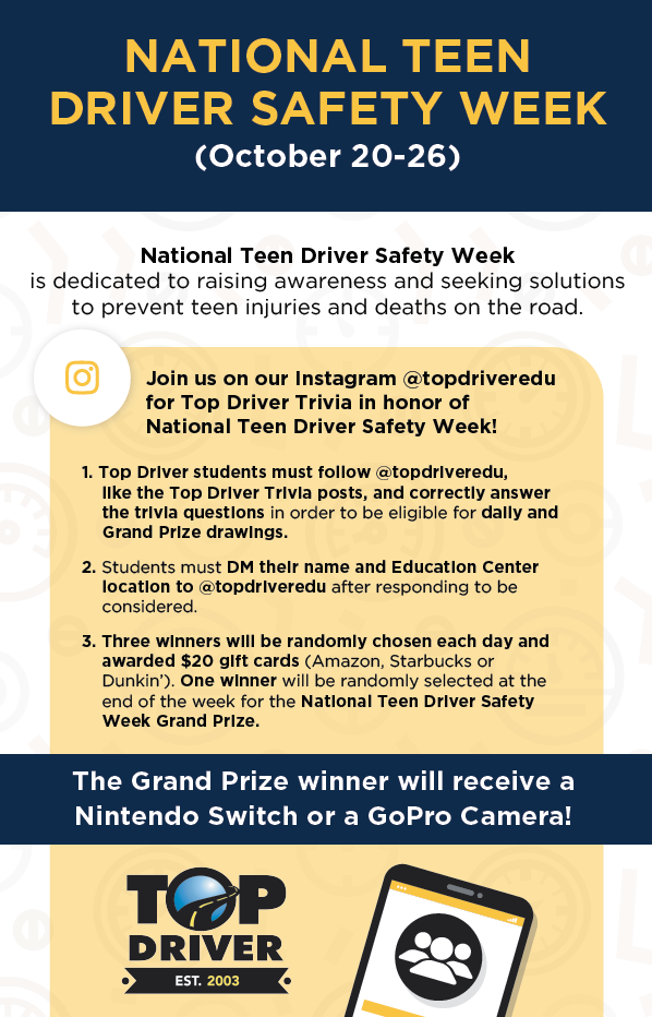 National Teen Driver Safety Week, October 20-26, 2019