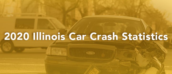 Blog header image of car crash with text 2020 illinois car crash stats
